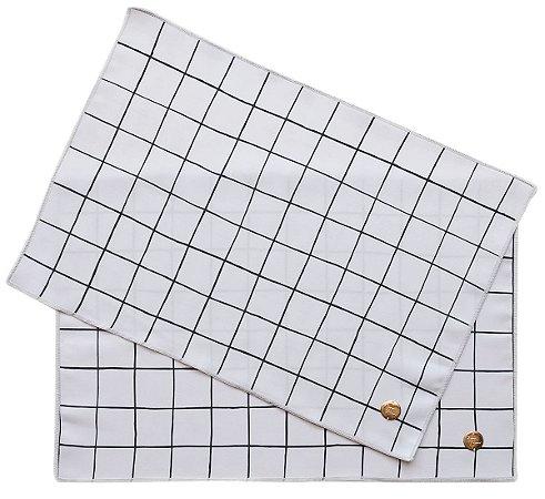 Jogo Americano Quadriculado Gourmet Branco e Preto Pano Urbano 50x35cm