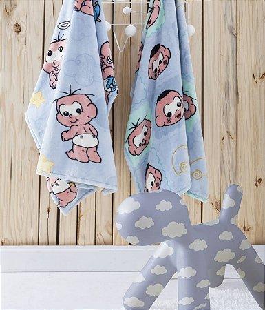 Manta Flannel Turma da Mônica Infantil Azul Estampas Jolitex 90x110cm