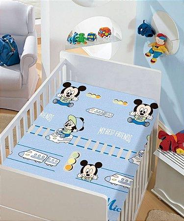 Manta Soft Disney Infantil Mickey Azul Estampas Jolitex 90x110cm