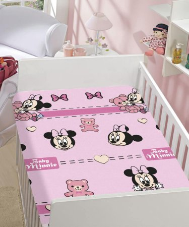 Manta Soft Disney Infantil Minnie Rosa Estampas Jolitex 90x110cm