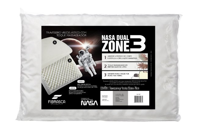 Travesseiro Nasa Dual Zone Dupla Face 50x70cm Fibrasca Antiácaro Branco