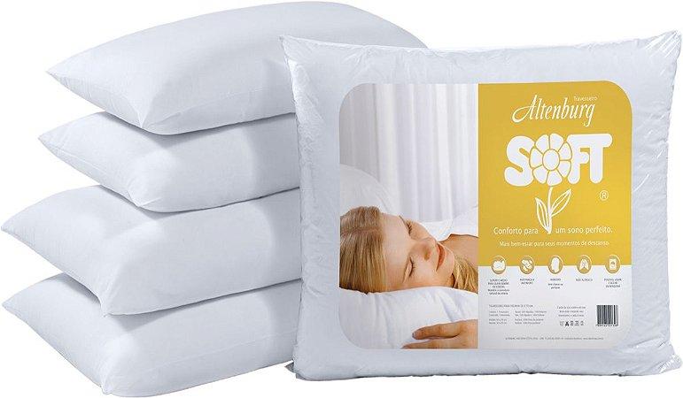 Combo 2 Travesseiros Altenburg Grande Soft 50x70cm Branco Suporte Médio