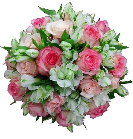 Buquê de Noiva com Rosas e Astromélias