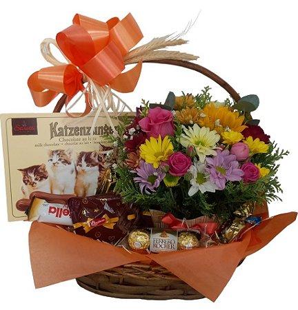 Cesta Flores e chocolates