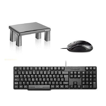 Kit Mouse + Teclado + Suporte de Monitor