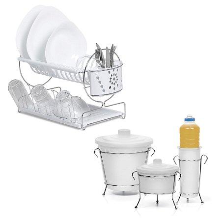 Kit com Escorredor de Louças e Kit de Pia Branco