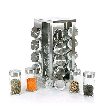 Porta Condimentos Giratorio 16 peças + Base Inox