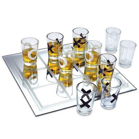 Jogo Da Velha Shot Drink Em Vidro Com 9 Copos 20 x 20 cm