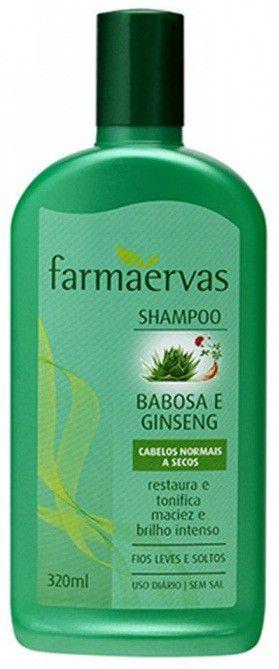FARMAERVAS SHAMPOO BABOSA E GINSENG CABELOS NORMAIS A SECOS 320ML