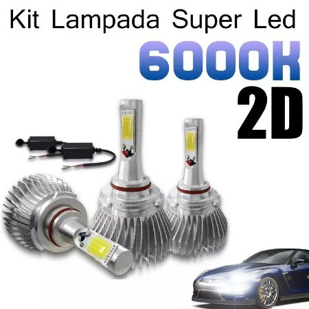 Kit Lâmpada Super Led Novo 2d 6000k Carro Alta Baixa 12v 24v