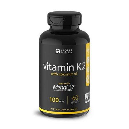 Vitamin K2  MK7 100mcg  60 veggie softgels SPORTS Research FRETE GRÁTIS