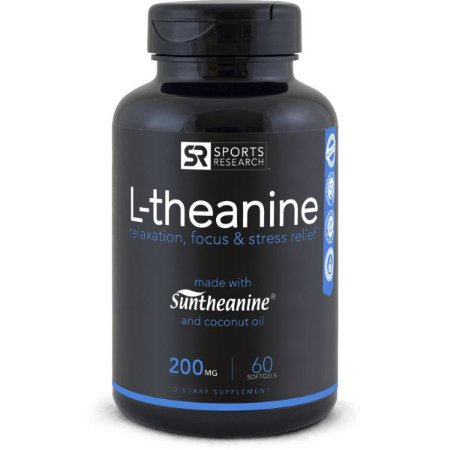 L Theanine Suntheanine 200mg 60 softgel SPORTS Research FRETE GRÁTIS
