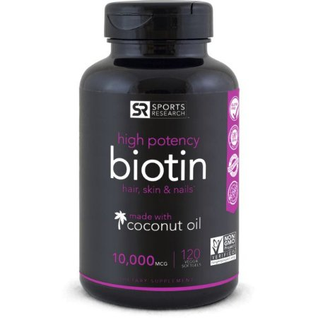 Biotin 10000mcg 120 Veg Softgel  SPORTS Research - FRETE GRÁTIS