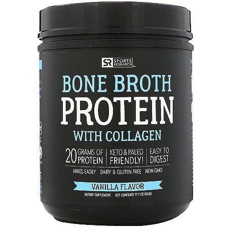 Bone Broth Protein com colágeno sabor baunilha 502g SPORTS Research Frete Econômico