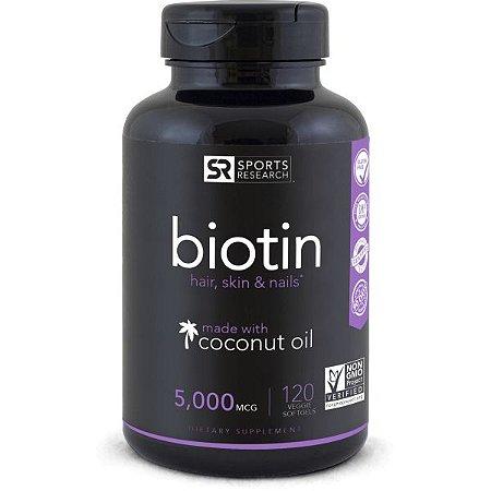 Biotin 5000mcg 120  Veggie Softgel SPORTS Research FRETE GRÁTIS