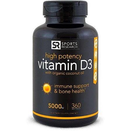 Vitamin D3 5,000iu 360 softgels  SPORTS Research FRETE GRÁTIS