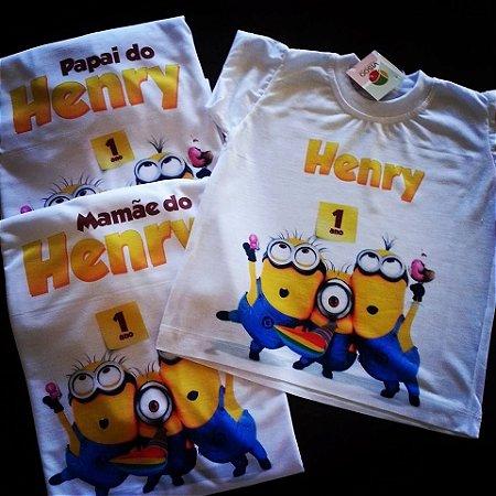 Camiseta  Aniversário Minions - personalizada