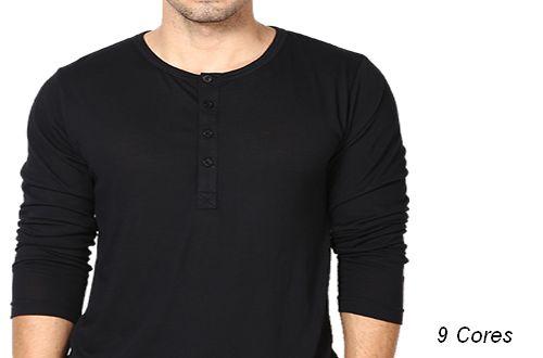 Camiseta Gola Portuguesa (Henley) Masculina com 4 Botões Manga Longa