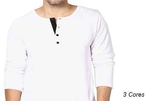 Camiseta Gola Portuguesa (Henley) Patê Colorido Modelo 1 Masculina com 4 Botões Manga Longa