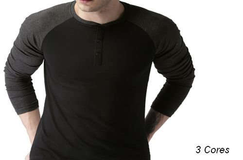 Camiseta Gola Portuguesa (Henley) Modelo 2 Masculina com 3 Botões Manga Raglan Longa
