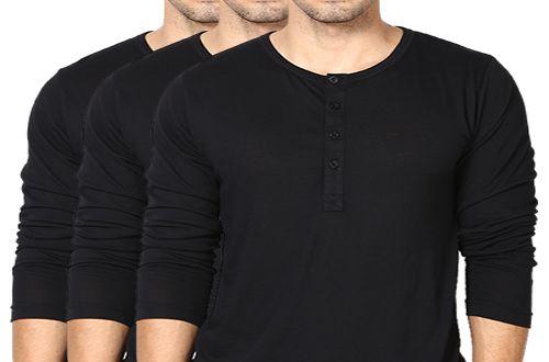 KIT com 3 Camisetas Gola Portuguesa (Henley) Masculina com 4 Botões Manga Longa