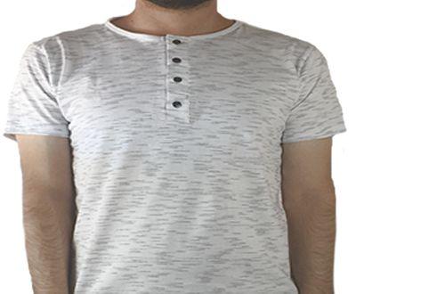 Camiseta Gola Portuguesa (Henley) Masculina com 4 Botões Rajadas Manga Curta