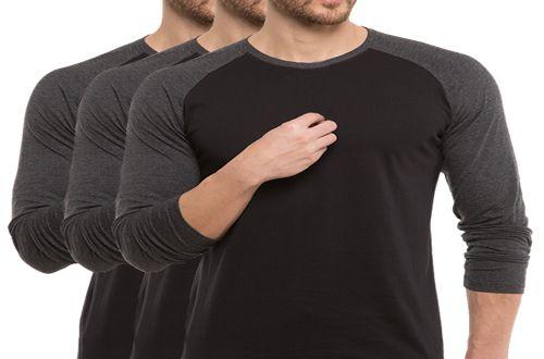 KIT com 3 Camisetas Gola Raglan Masculina Manga Longa