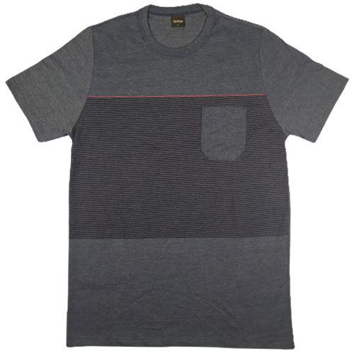 Camiseta Gola Básica Masculina Listrada com Bolso Manga Curta