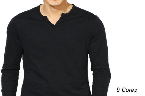 Camiseta Gola V Tesoura Masculina Manga Longa