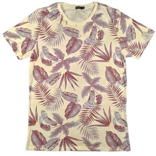 Camiseta Gola Básica Masculina Folhagem Modelo 1 Manga Curta