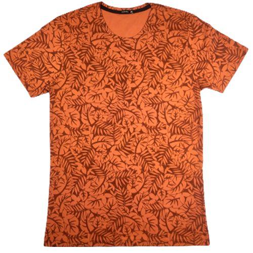 Camiseta Gola Básica Masculina Folhagem Modelo 2 Manga Curta
