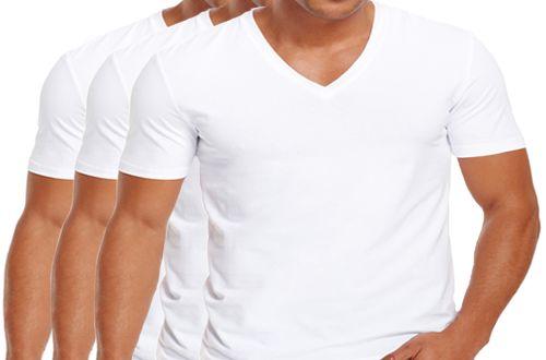 KIT com 3 Camisetas Gola V Masculina Manga Curta