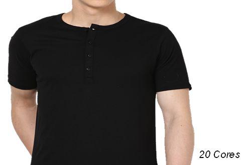 Camiseta Gola Portuguesa (Henley) Masculina com 4 Botões Manga Curta