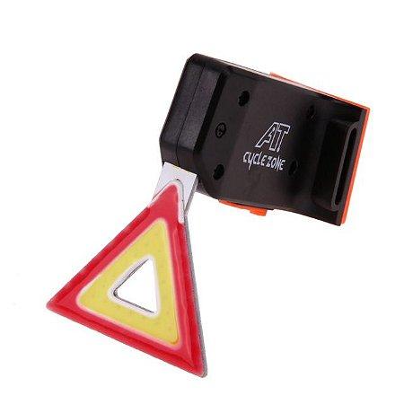 Lanterna Traseira Triângulo Vermelho  USB Recarregável