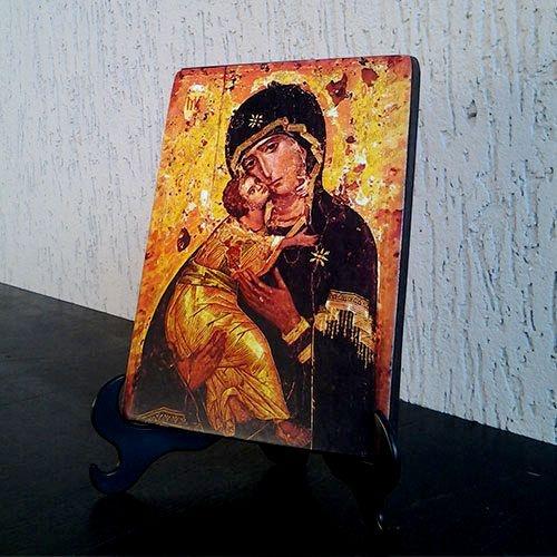 Ícone Maria Mãe da Ternura Rústico