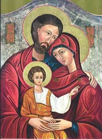 Ícone Sagrada Família manto vermelho