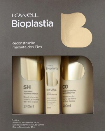 Lowell Bioplastia Kit de Tratamento Capilar 3 Produtos