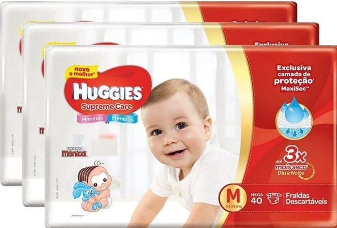 Kit Fraldas Huggies Supreme Care Roupinha 03 Pacotes 120 Unidades