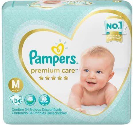Fraldas Pampers Premium Care M 34 Unidades - Promoção de Fraldas