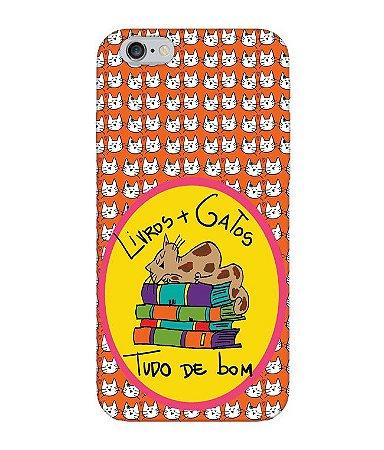 Capa de Celular - Livros e Gatos