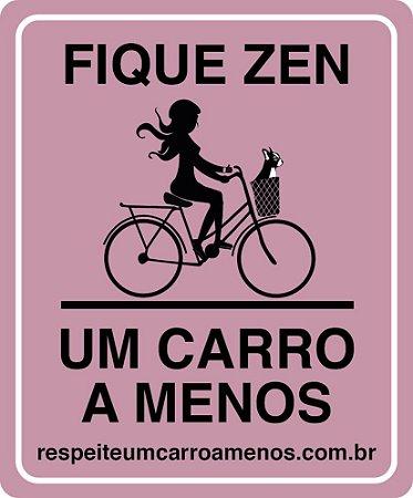 Placa Refletiva para Bicicleta - Menina e Bulldog Francês na Cesta