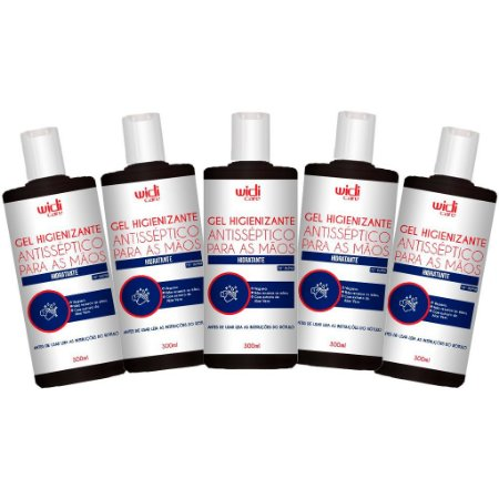 Kit com 5 - Álcool em Gel Higienizante Antisséptico 300mL - Widi Care