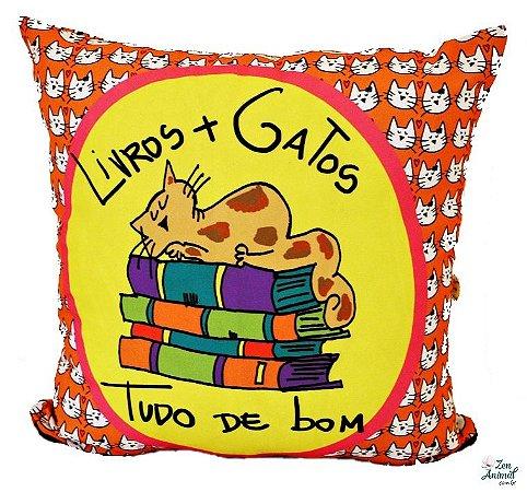 CAPA de Almofada Livros e Gatos