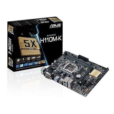 PLACA MAE 1151 ASUS H110M-K SOM/VIDEO/REDE/DVI DDR4 GARANTIA: 90 DIAS