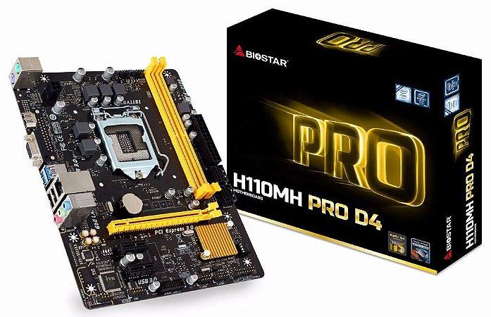 PLACA MAE 1151 BIOSTAR H110MH PRO DDR4 SOM/VIDEO/REDE/HDMI/USB3.0 GARANTIA: 1 ANO