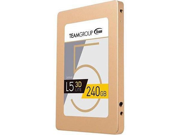 SSD 480 GB TEAM GROUP L5 LITE 3D SATA LLL 2,5 POLEGADAS GARANTIA: 90 DIAS