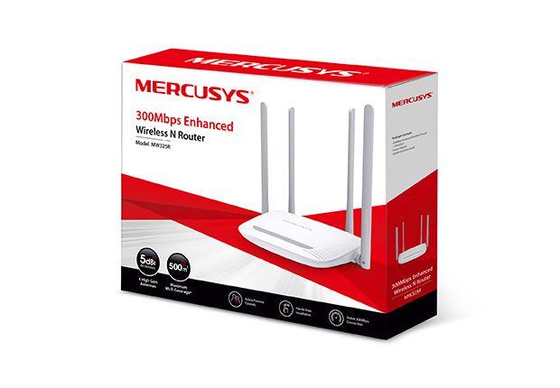 ROTEADOR MERCUSYS MW325R WIRELESS 300 MBPS 4 PORTAS 10/100 MBPS 4 ANTENAS 5DBI GARANTIA: FABRICANTE