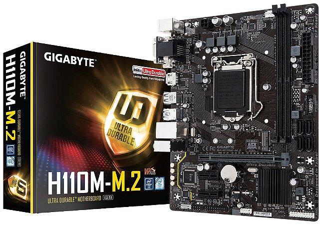 Placa Mae 1151 6ª, 7ª Geração Gigabyte H110M-M.2 DDR4, mATX, M.2, Intel