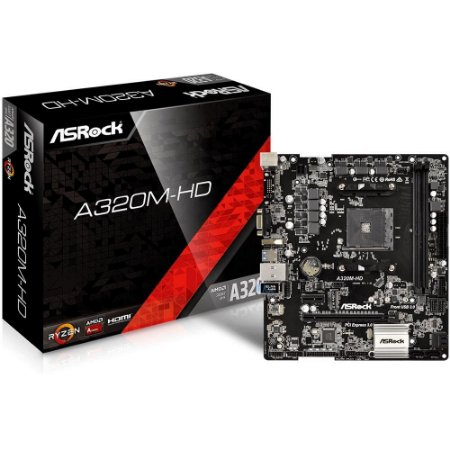 Placa Mãe Am4 Asrock A320M-Hd, Ddr4, Matx, Amd, M2, Audio 71, Gigabit, Sata3, Hdmi, Dsub