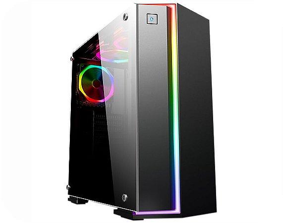Gabinete Gamer Kmex CG-06RB Fox Preto 1 Fan Painel RGB Rainbow Controladora Sem Fonte